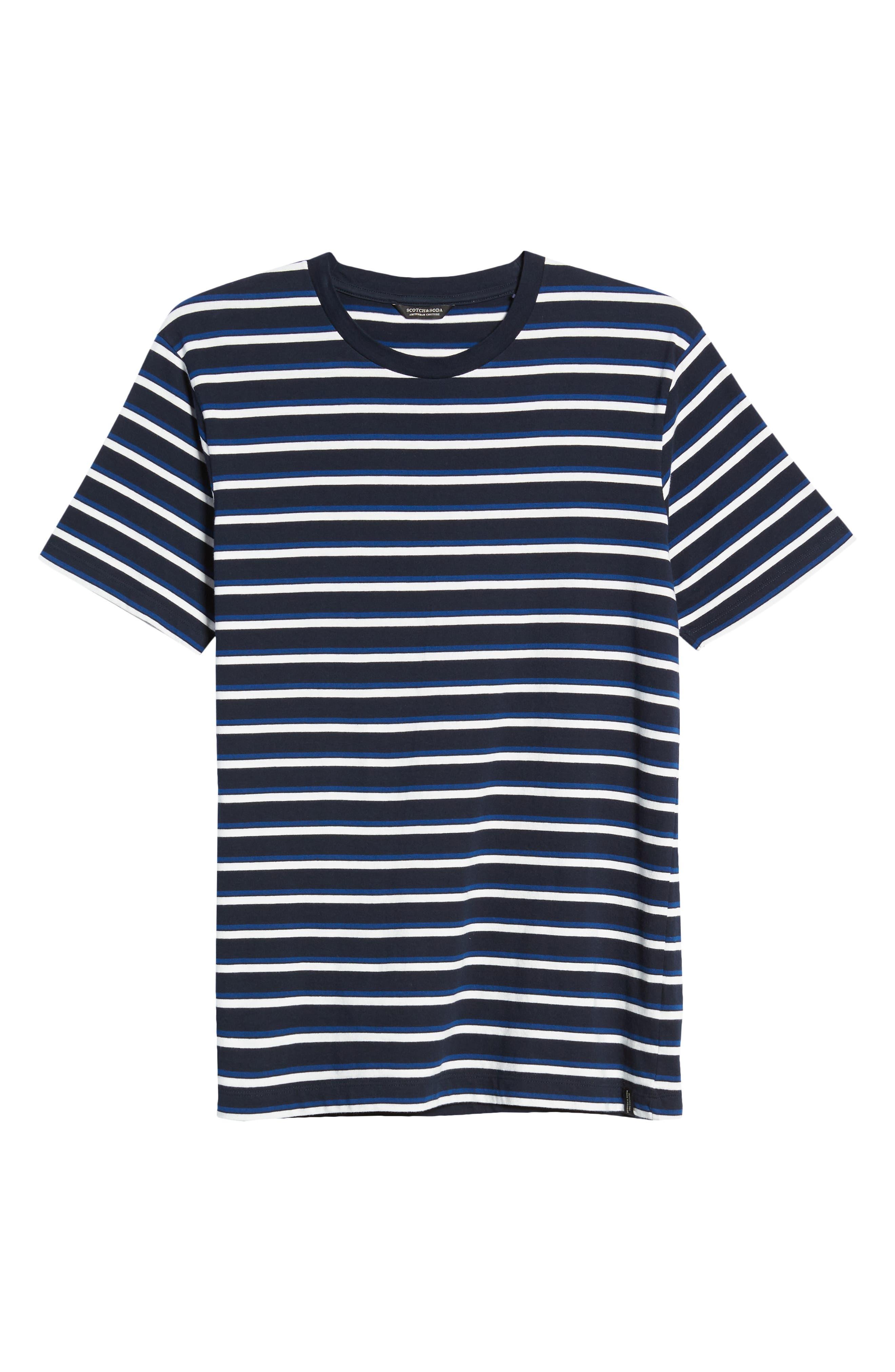 1930s Men's Clothing SCOTCH AND SODA Longline Crewneck T-Shirt Size Large Us in Blue Stripe at Nordstrom Rack $24.97 AT vintagedancer.com