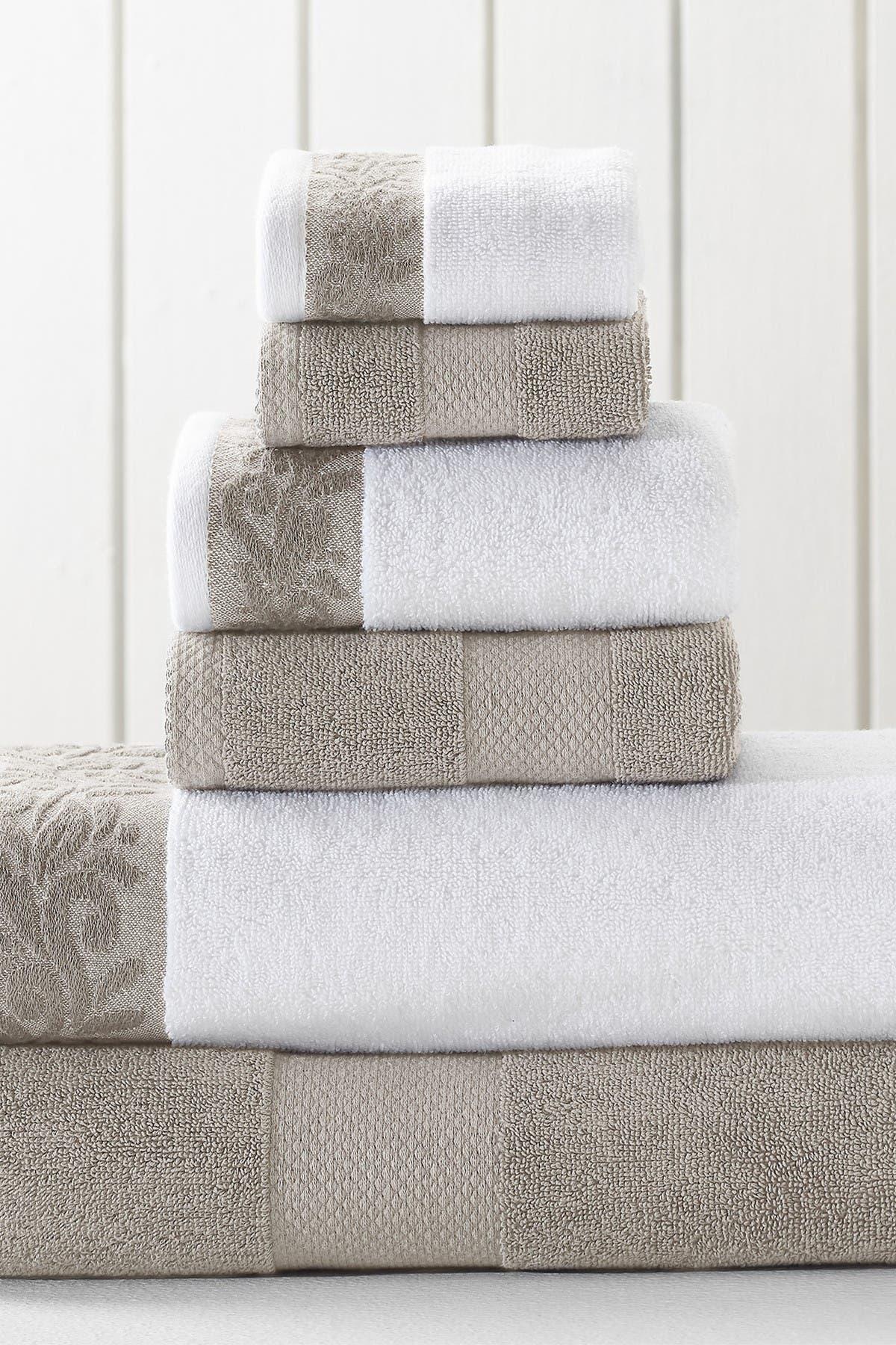 Image of Modern Threads Filgree Jacquard Border Towel 6-Piece Set - Flax