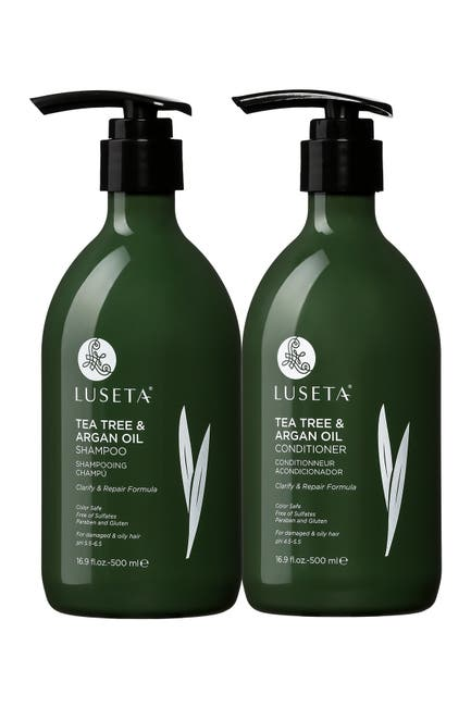 Image of Luseta Beauty Tea Tree & Argan Oil Shampoo & Conditioner 16.9 oz. Set for Dry & Flaky Scalp