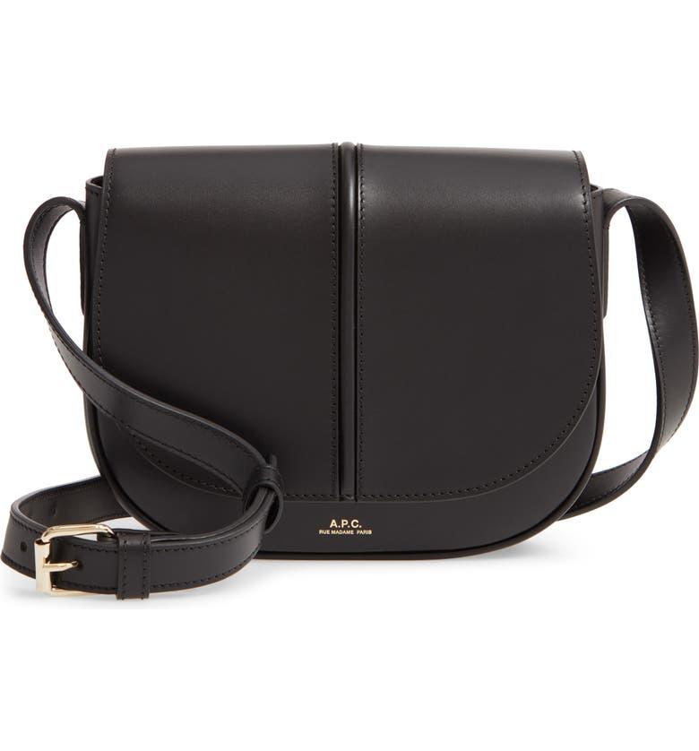 A.P.C. Sac Betty Leather Crossbody Bag, Main, color, 001