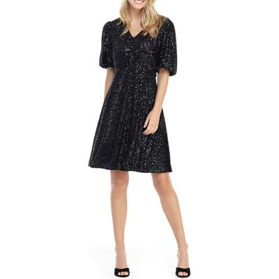 Gal Meets Glam Collection Farris Sequin Fit & Flare Dress, Black