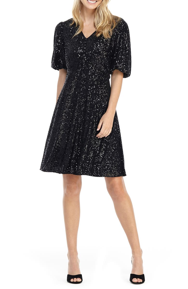 GAL MEETS GLAM COLLECTION Farris Sequin Fit & Flare Dress, Main, color, BLACK