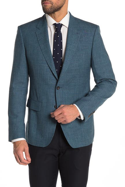 Image of THOMAS PINK Edwin Teal Two Button Notch Lapel Sport Coat