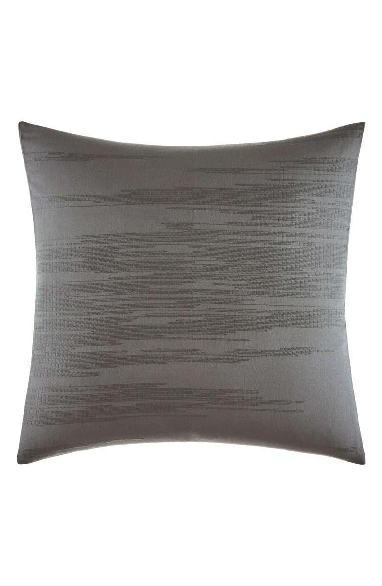 VERA WANG Burnished Quartz Ikat Stitch Accent Pillow, Main, color, DARK GREY
