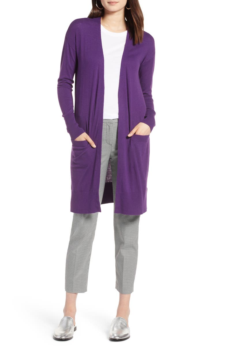 HALOGEN<SUP>®</SUP> Open Front Pocket Cardigan, Main, color, PURPLE ROYAL