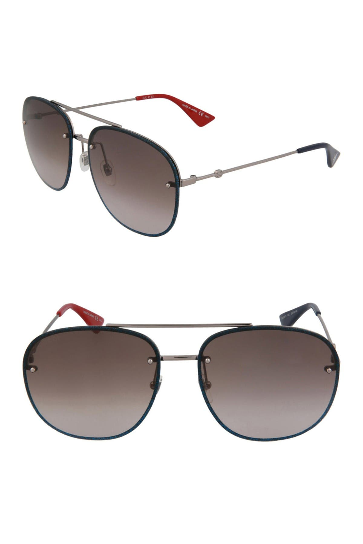 Gucci 62mm Fashion Aviator Sunglasses In Black