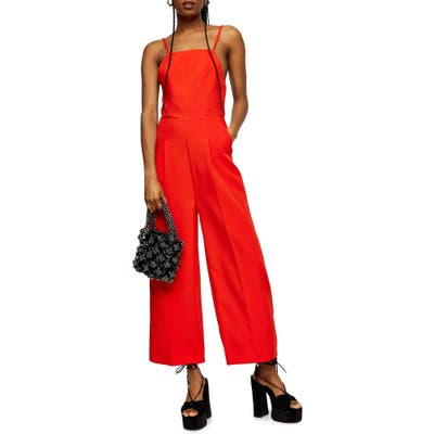 Topshop Strappy Back Wide Leg Jumpsuit, US - Red