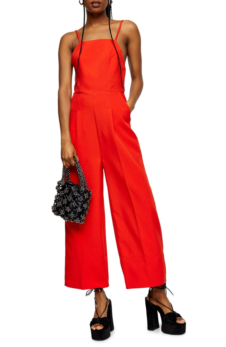 TOPSHOP Strappy Back Wide Leg Jumpsuit, Main, color, RED
