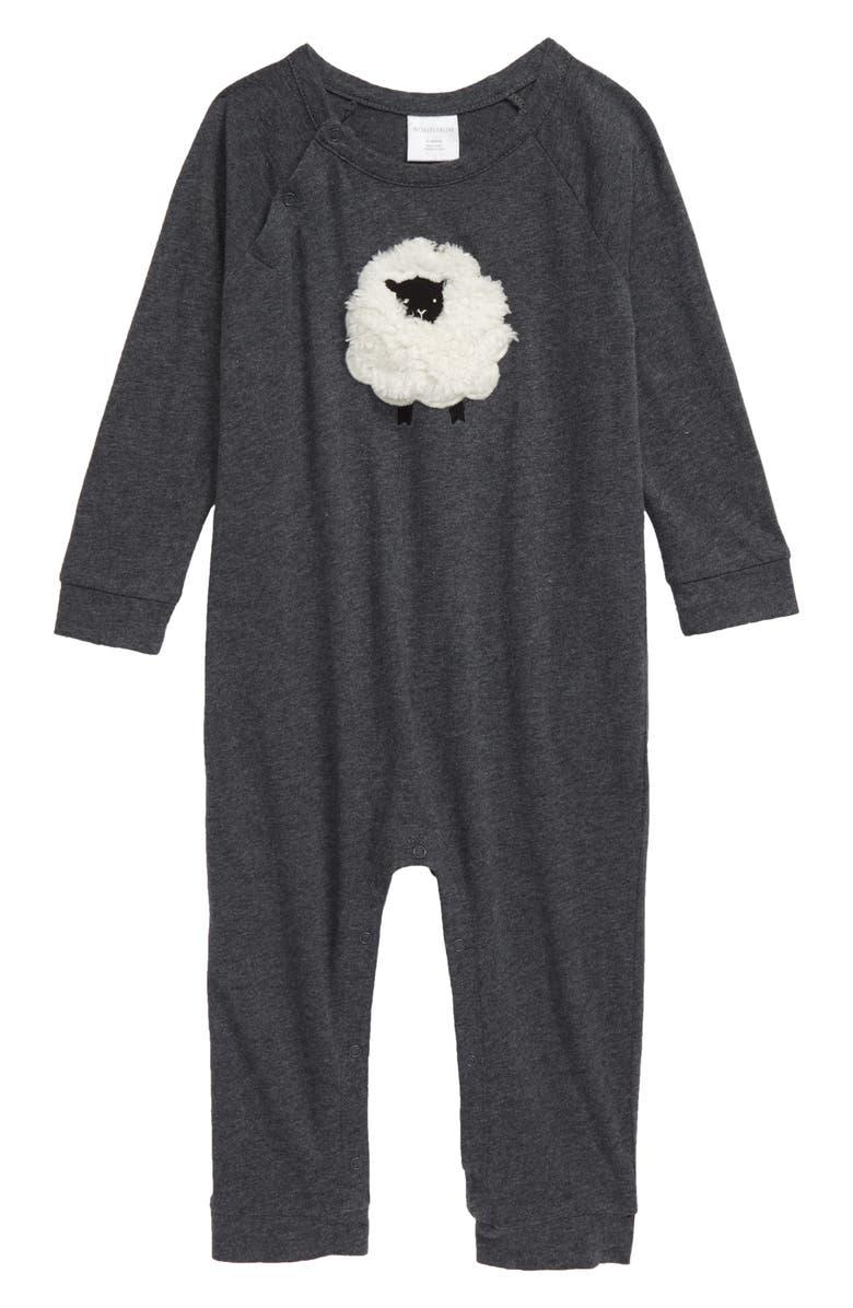 NORDSTROM BABY Faux Fur Appliqué Romper, Main, color, GREY MEDIUM CHARCOAL SHEEP