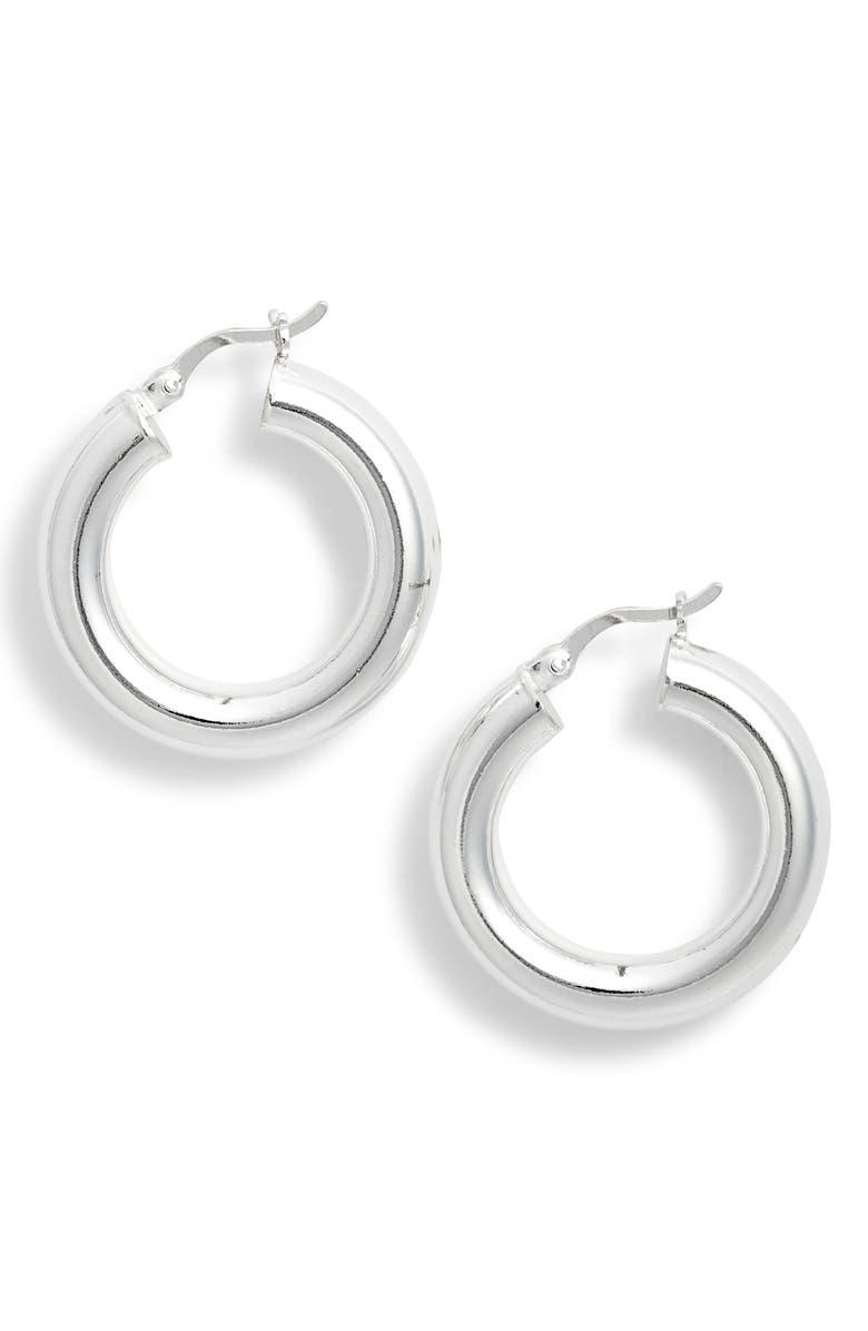 ARGENTO VIVO Mini Tube Hoop Earrings, Main, color, SILVER