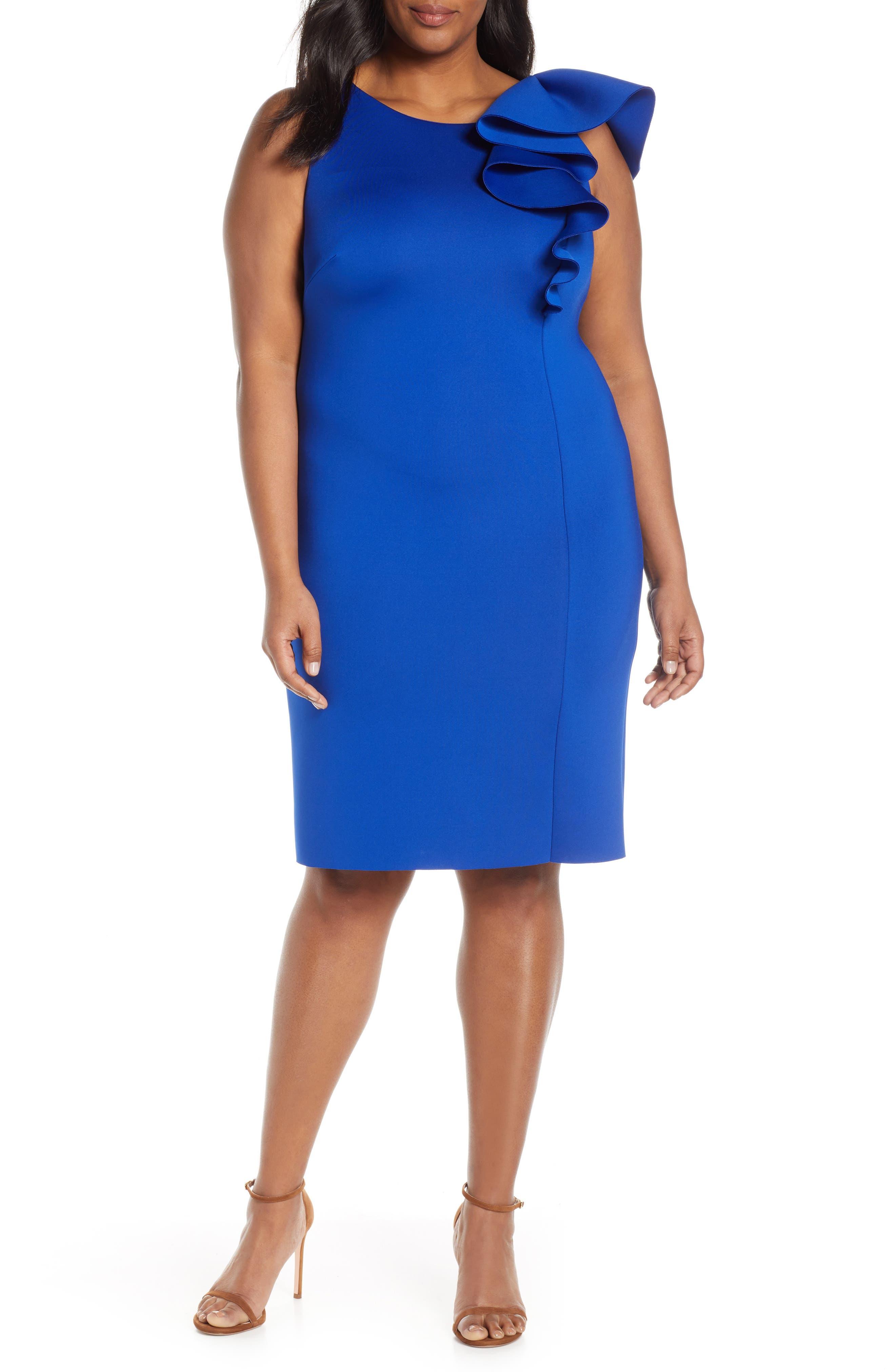 Plus Size Eliza J Asymmetrical Ruffle Scuba Sheath Dress, Blue