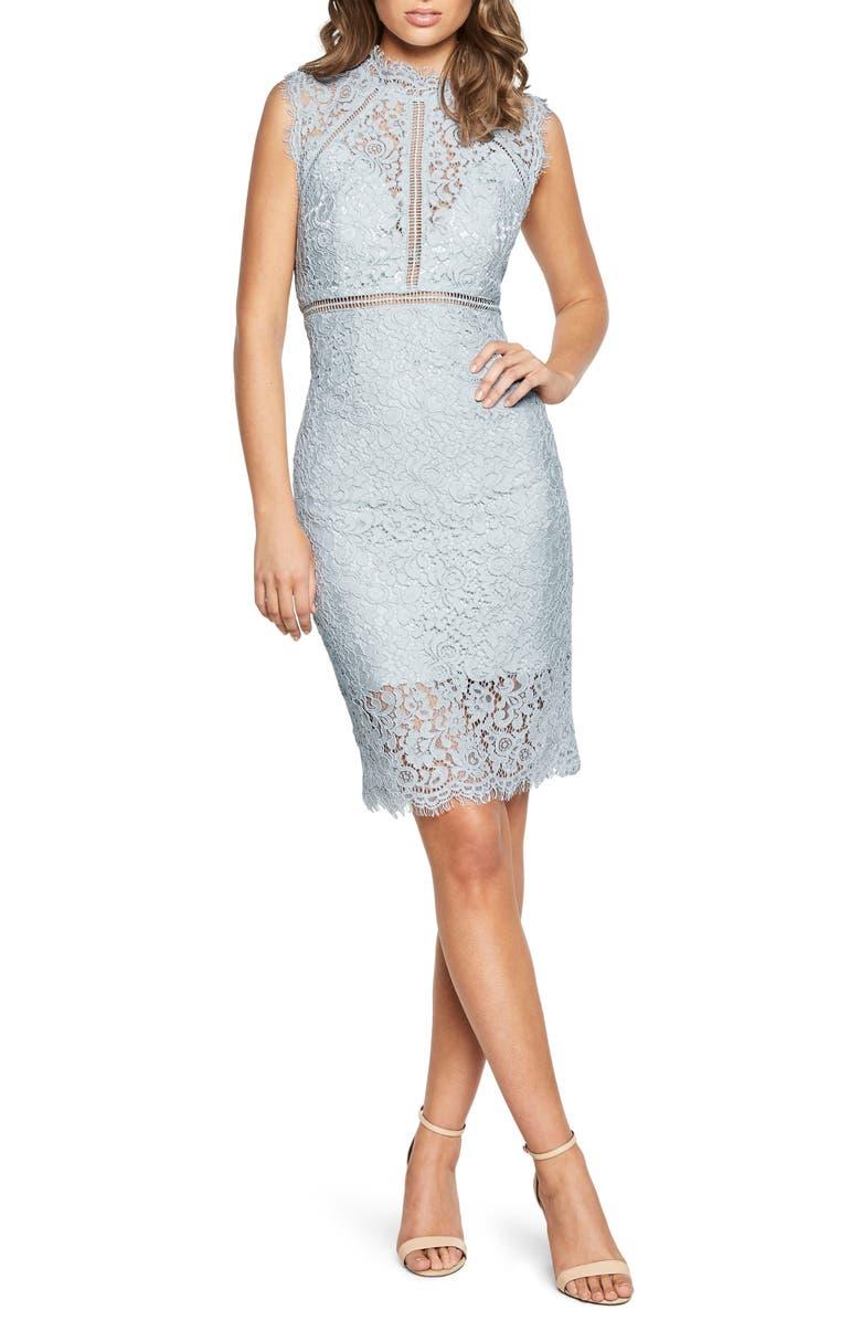 BARDOT Lace Sheath Dress, Main, color, BLUE MIST/ MIST
