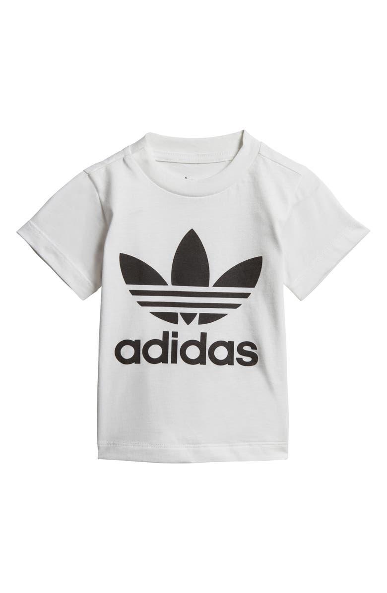 ADIDAS Originals Trefoil T-Shirt, Main, color, WHITE/ BLACK