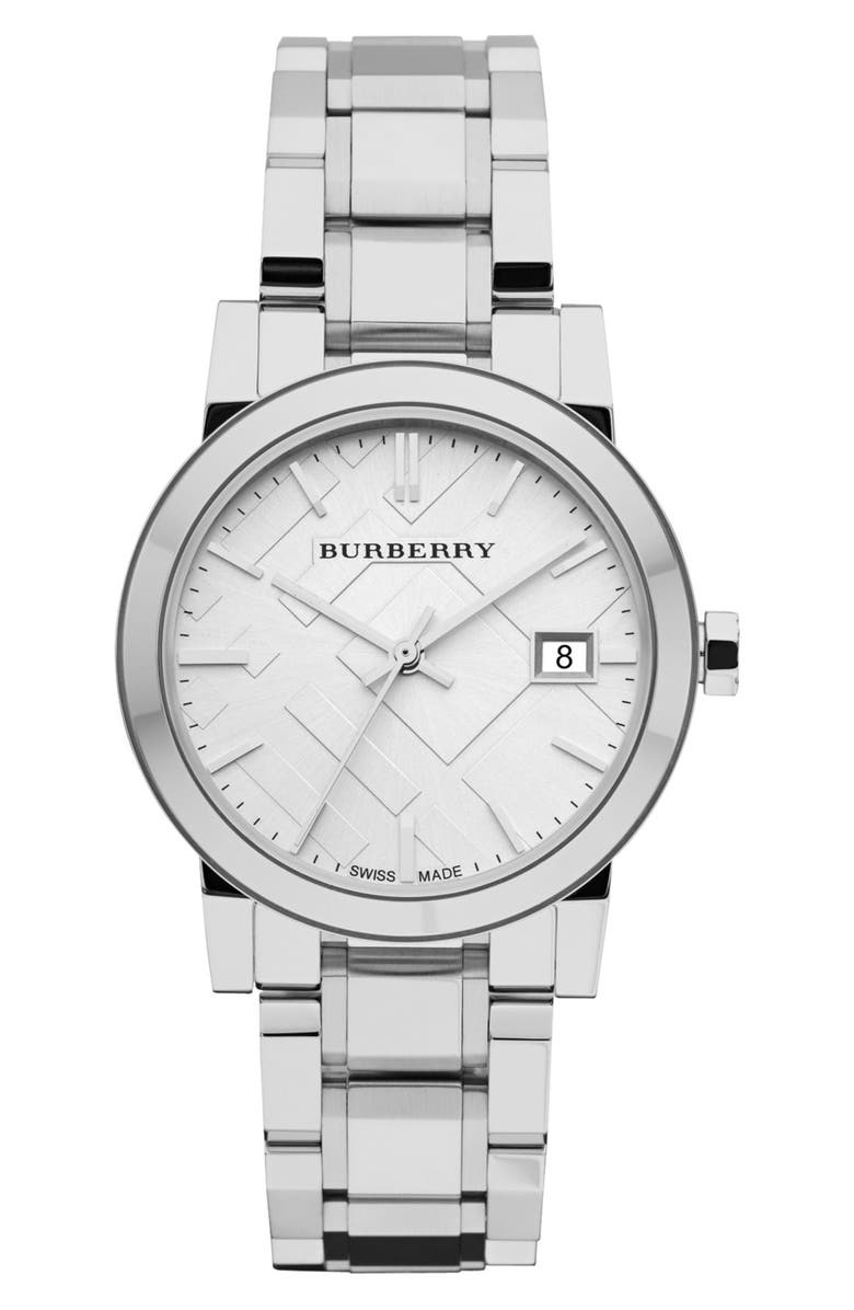 BURBERRY Medium Check Stamped Bracelet Watch, 34mm, Main, color, 040