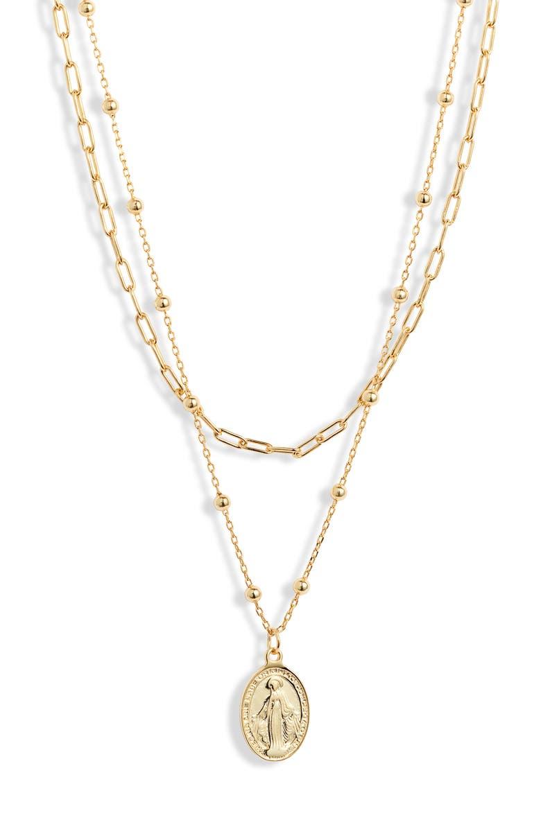 ARGENTO VIVO Religious Layer Necklace, Main, color, GOLD