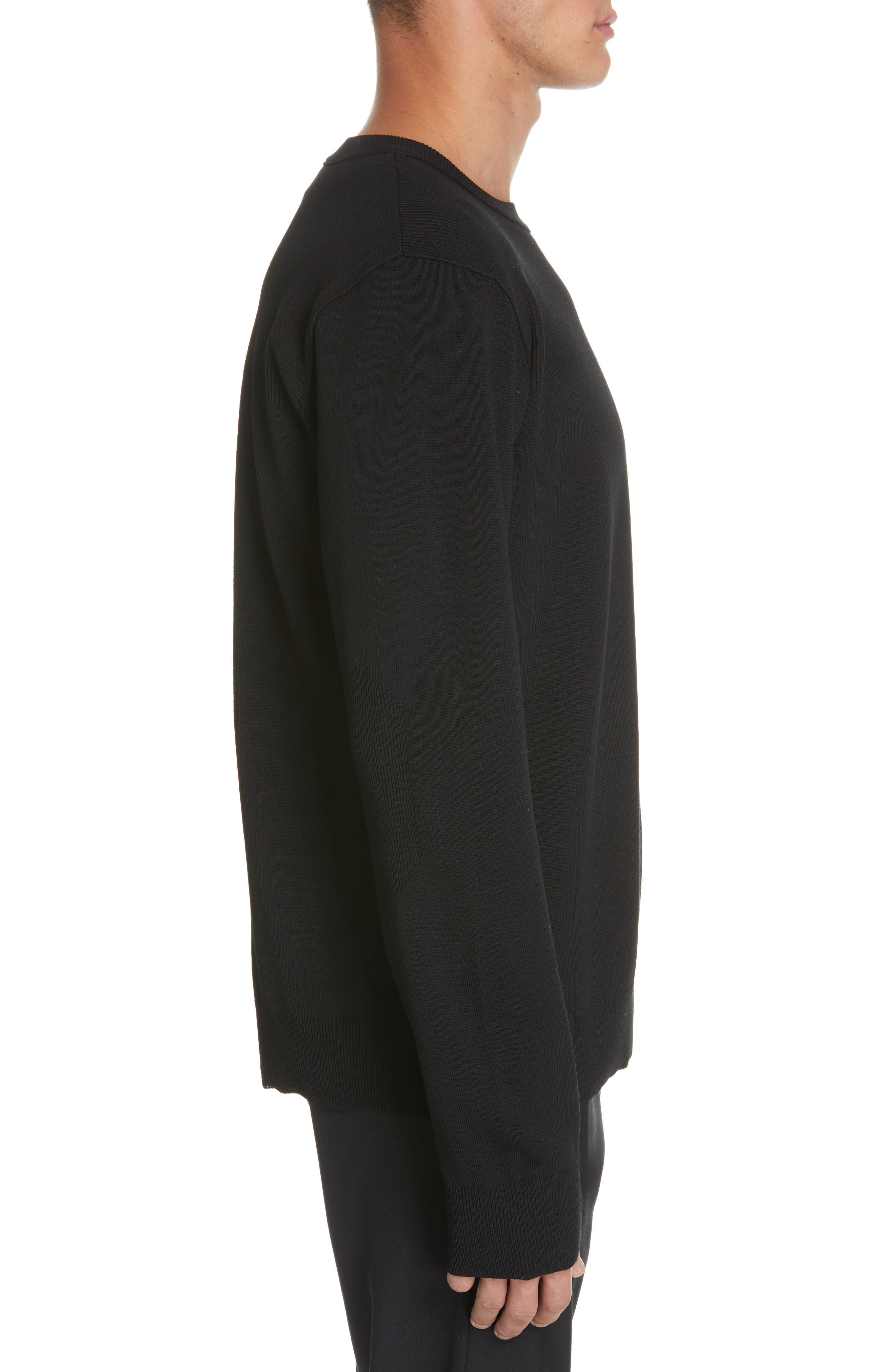 ,                             Contrast Stitch Wool Blend Sweater,                             Alternate thumbnail 3, color,                             001