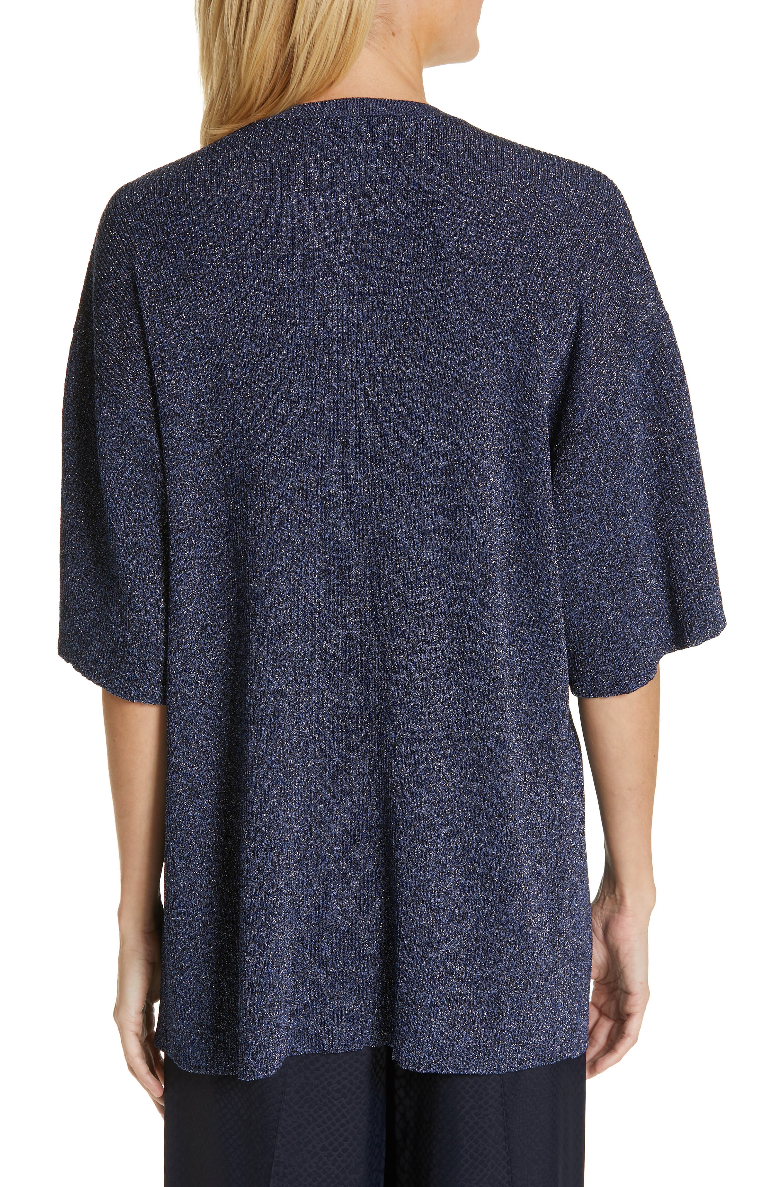 ,                             Metallic Knit Sweater,                             Alternate thumbnail 2, color,                             BLUE