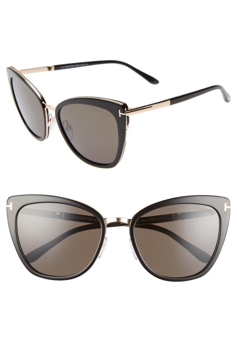 TOM FORD Simona 56mm Sunglasses, Main, color, BLACK/ ROSE GOLD/ SMOKE