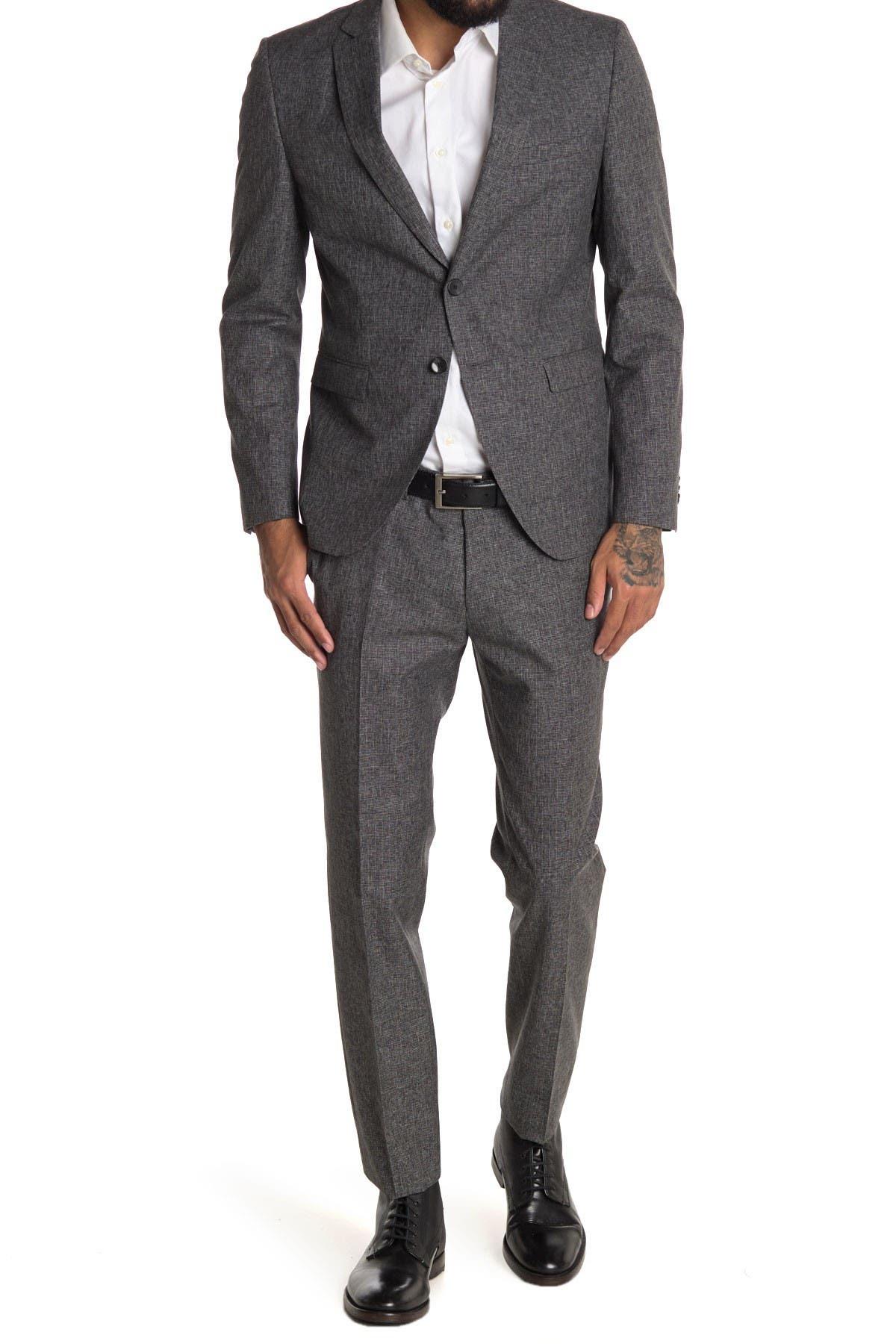 Image of BOSS Reymond Grey Sharkskin Two Button Notch Lapel Suit
