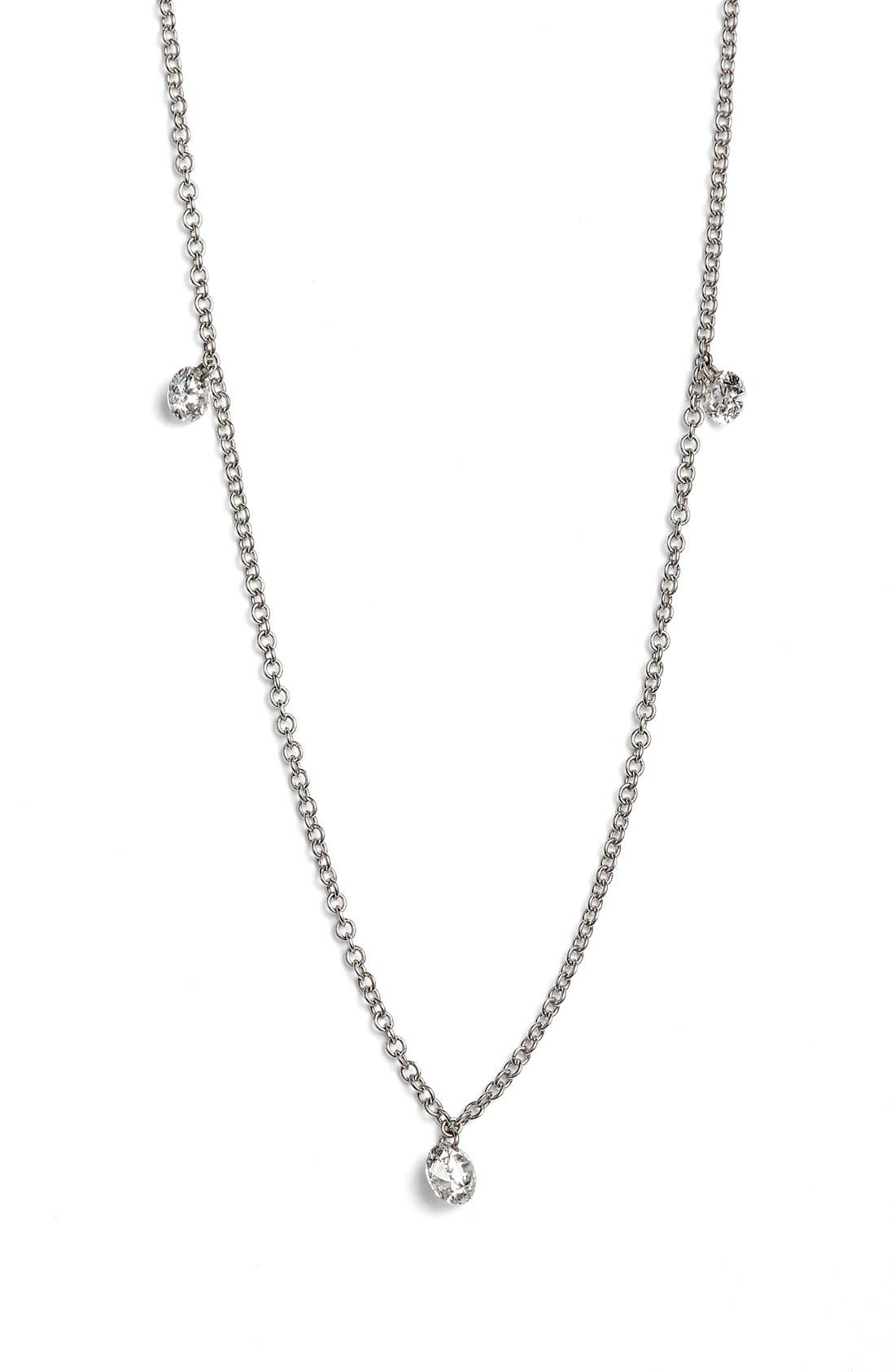 'Floating Diamond' 3-Diamond Necklace, Main, color, WHITE GOLD