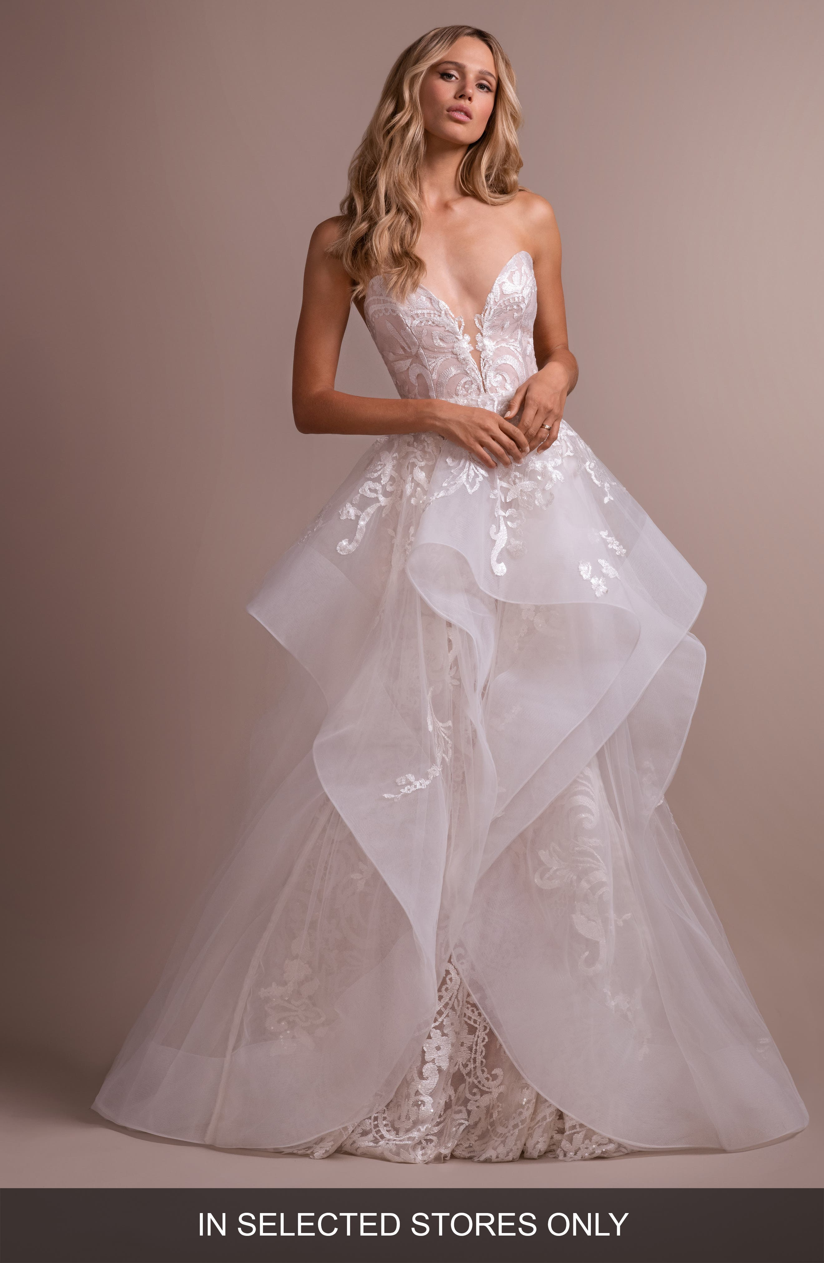 Hayley Paige Elke Strapless Lace Wedding Dress With Overskirt, Size - Ivory