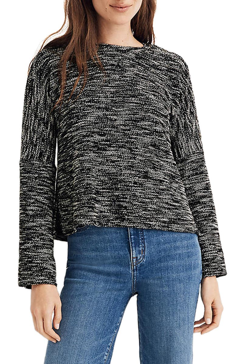 MADEWELL Button Shoulder Wide Sleeve Top, Main, color, TRUE BLACK