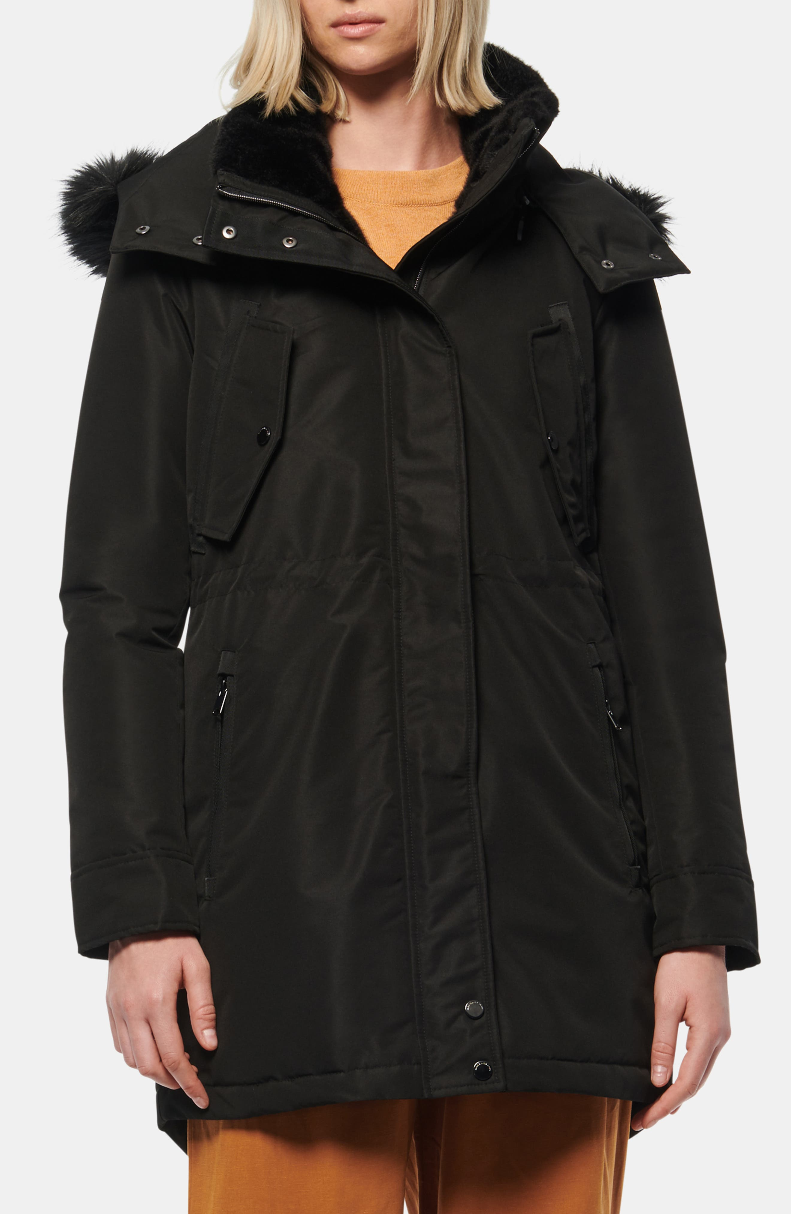 Andrew Marc Faux Fur Trimmed Anorak