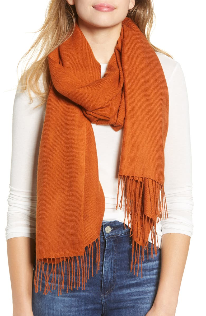 NORDSTROM Tissue Weight Wool & Cashmere Scarf, Main, color, RUST EMBER