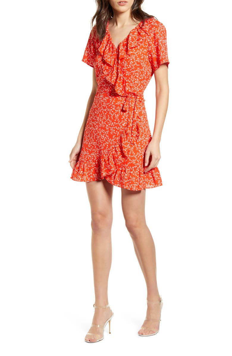 CUPCAKES AND CASHMERE Kiley Leaf Print Wrap Dress, Main, color, RED HOTS