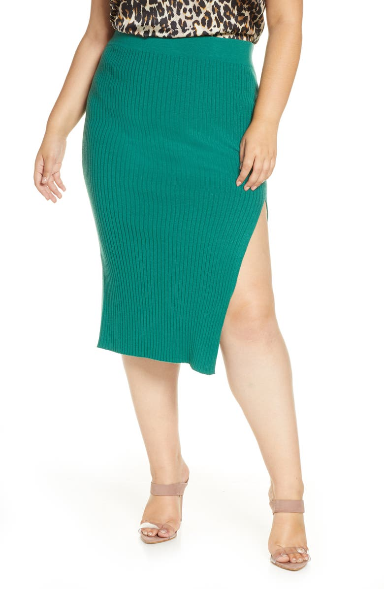 LEITH Ribbed Side Slit Sweater Skirt, Main, color, GREEN EVERGREEN