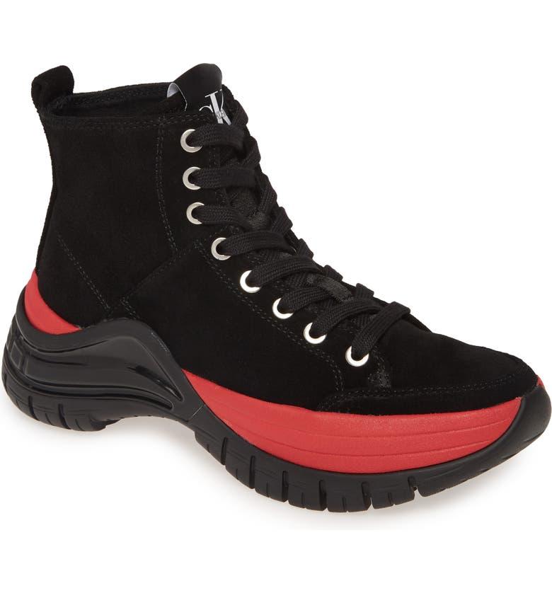 CALVIN KLEIN JEANS Calvin Klein Timotha High Top Sneaker, Main, color, BLACK SUEDE