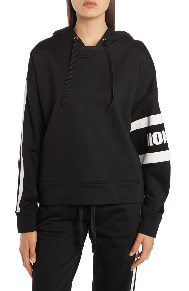 MONCLER Logo Oversize Crop Cotton Blend Hoodie, Main, color, 999 BLACK