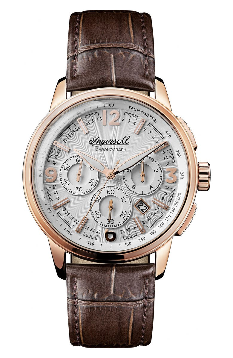 Ingersoll Regent Chronograph Leather Strap Watch 47mm