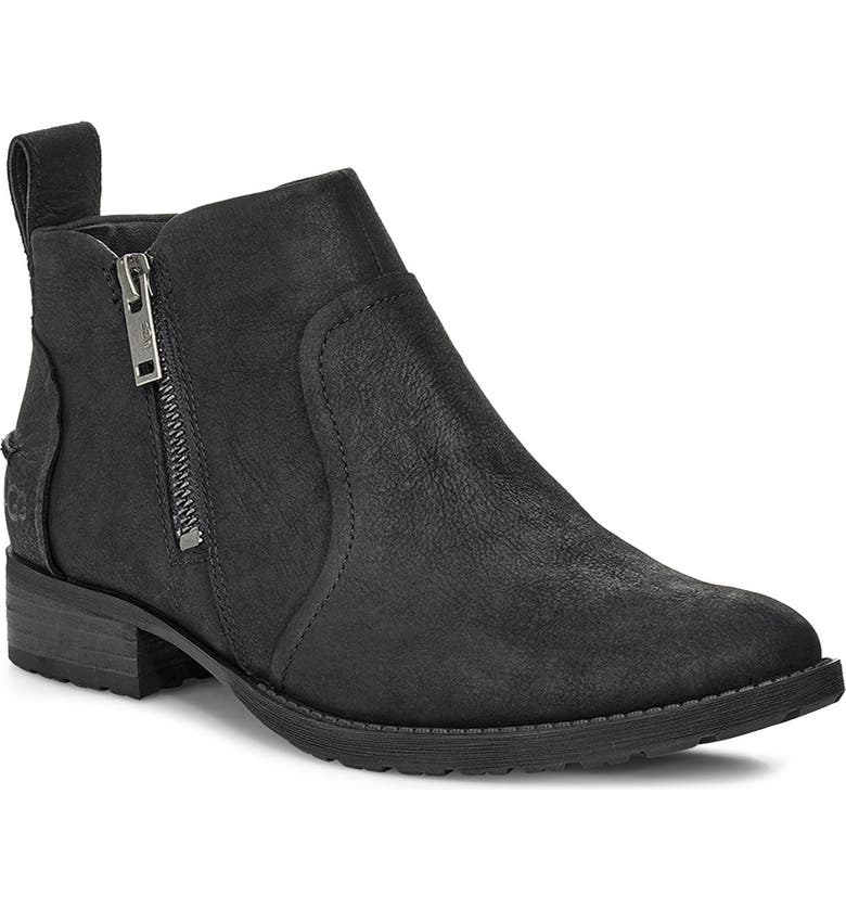 UGG<SUP>®</SUP> Aureo II Waterproof Bootie, Main, color, BLACK NUBUCK