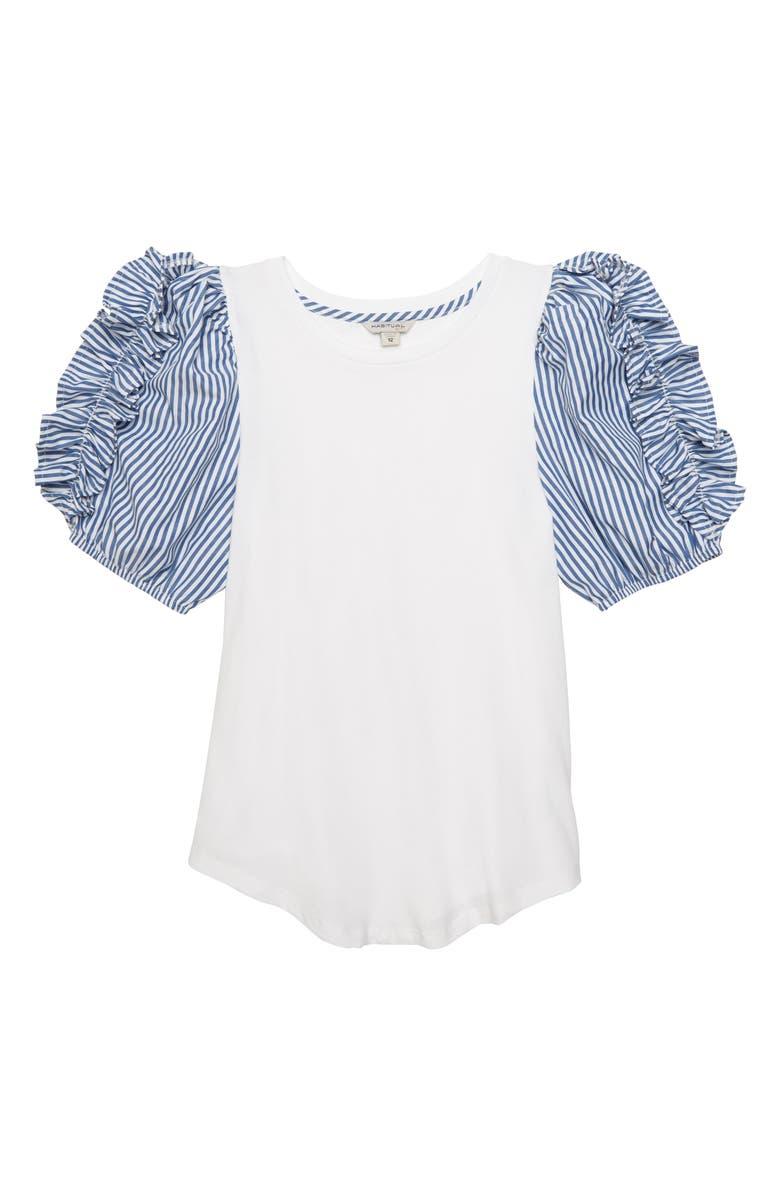 HABITUAL Ruffle Stripe Sleeve Tee, Main, color, WHITE
