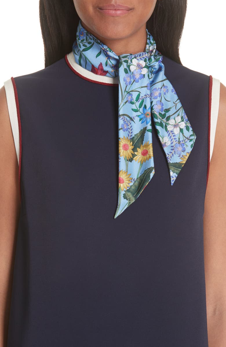 GUCCI New Flora Skinny Scarf, Main, color, 400