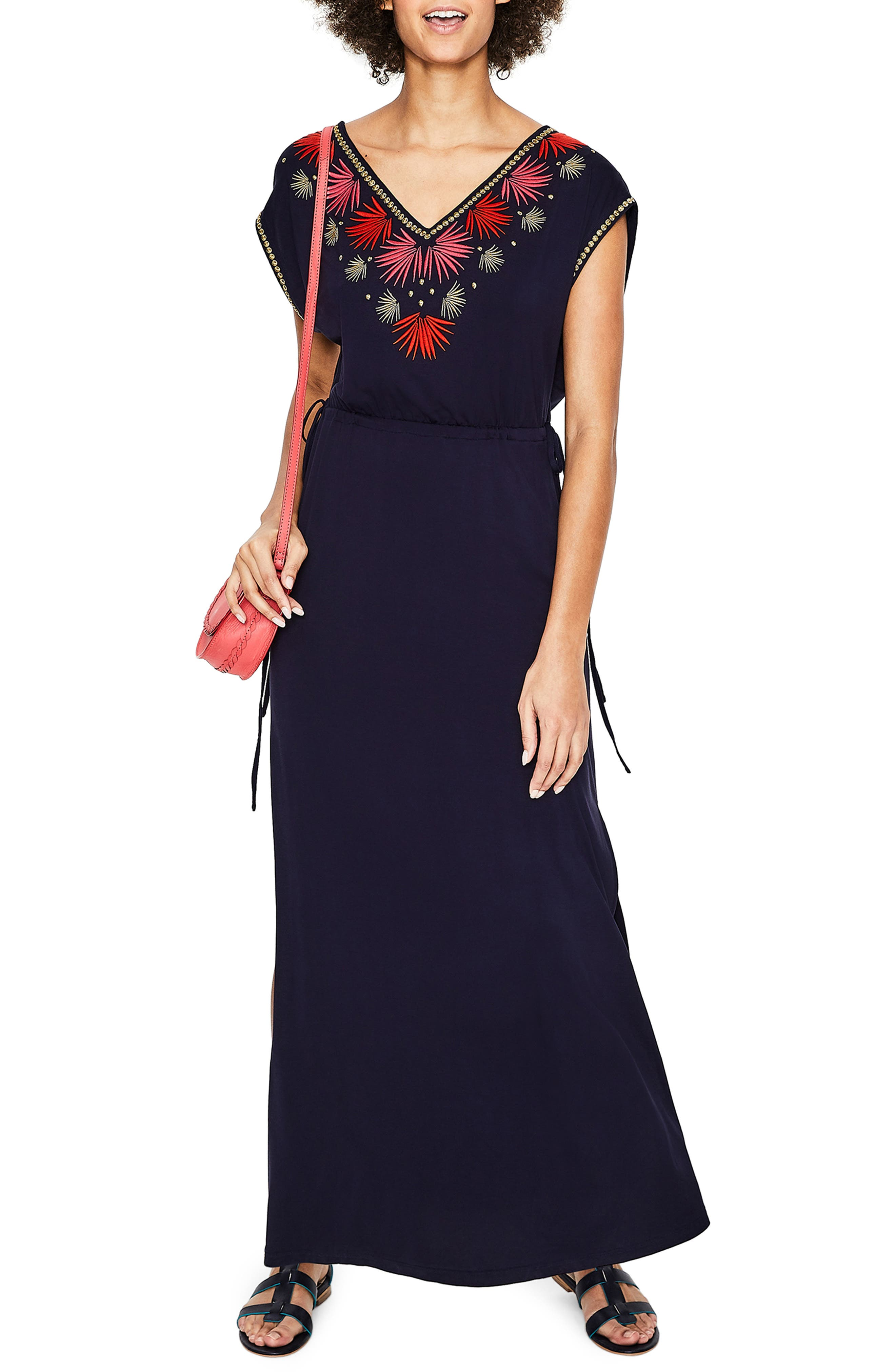 Boden Marcia Embroidery Detail Maxi Dress, 8 (similar to 16W-18W) - Blue