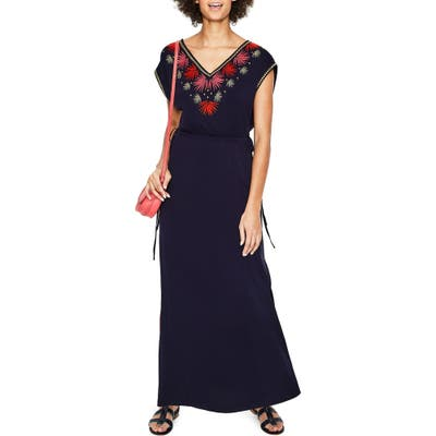 Petite Boden Marcia Embroidery Detail Maxi Dress, Blue
