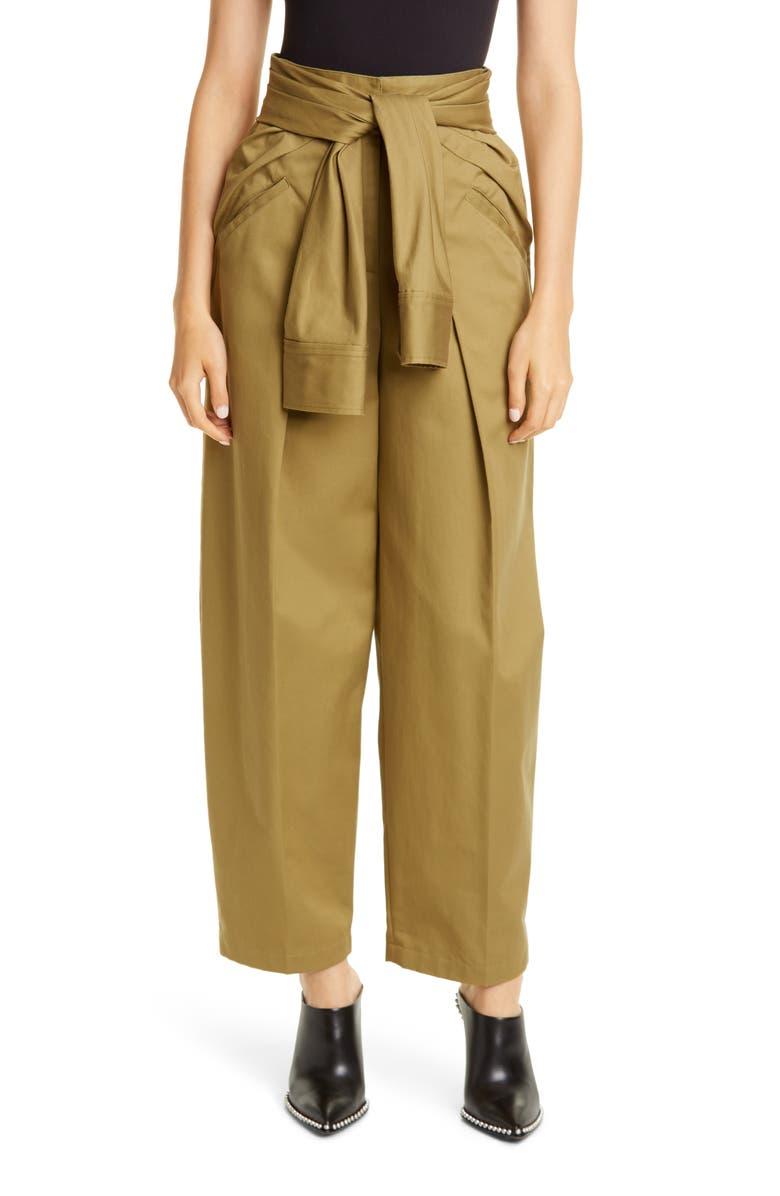 ALEXANDER WANG Tie Waist Cotton Trousers, Main, color, FIELD GREEN