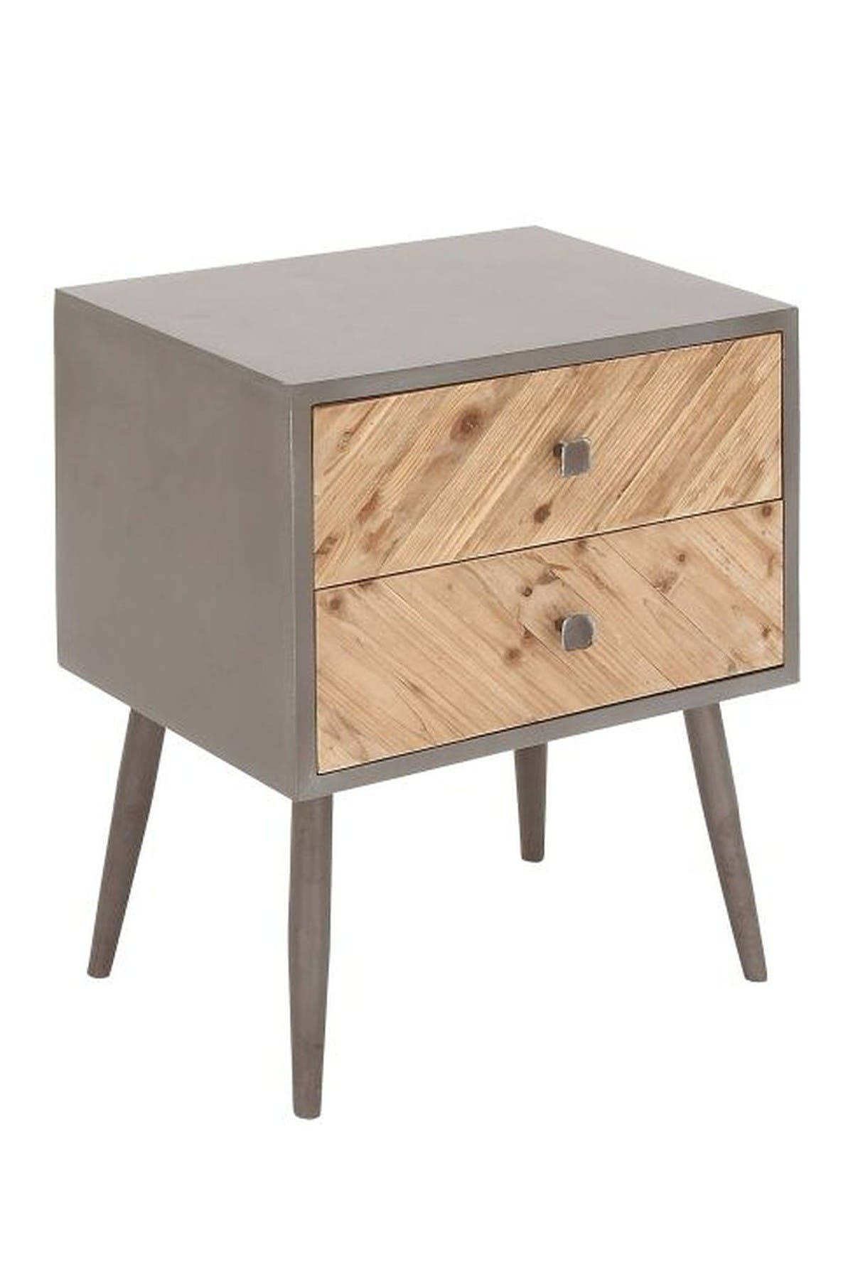 Image of Willow Row Light Grey/Light Brown Small Wood Cabinet