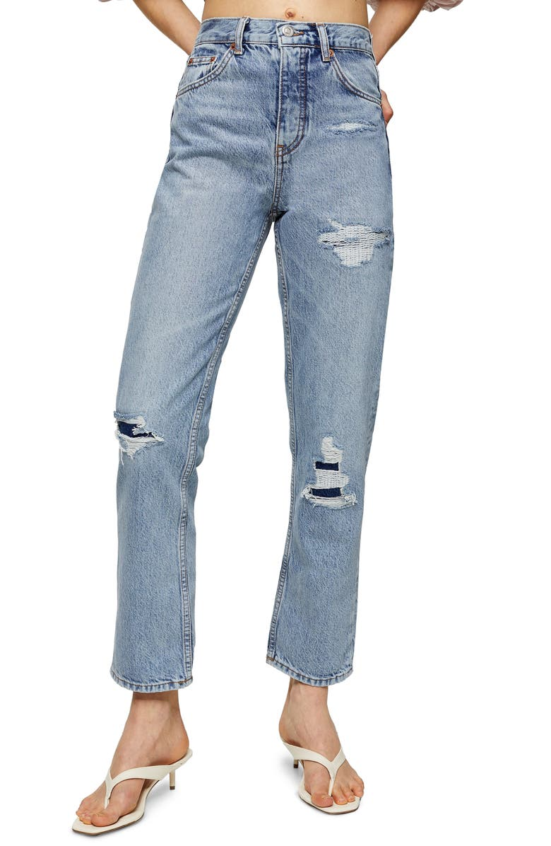 TOPSHOP Bleach Rip Straight Leg Jeans, Main, color, BLEACH