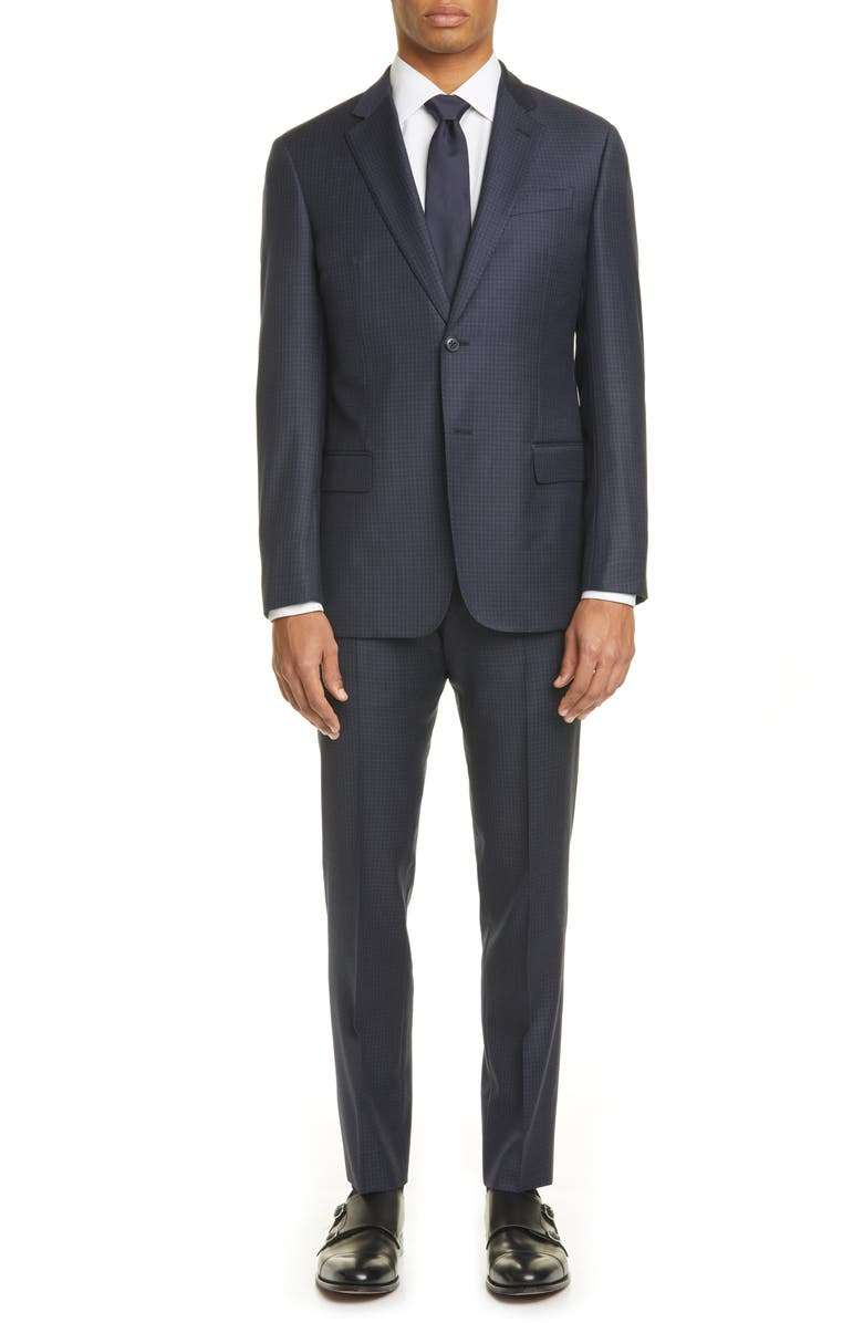 EMPORIO ARMANI G Line Trim Fit Check Wool Suit, Main, color, NAVY