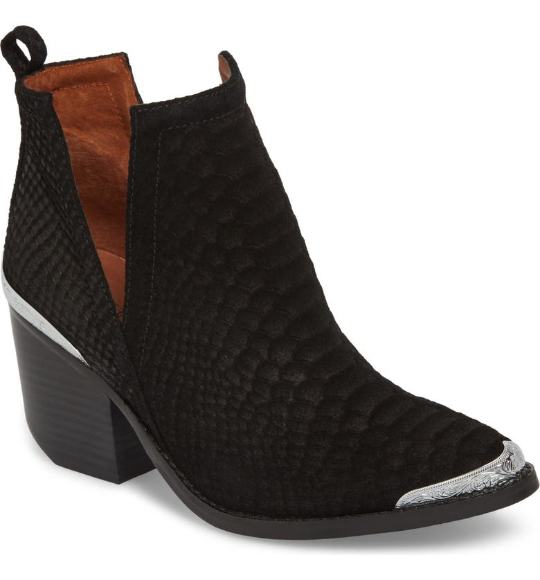 JEFFREY CAMPBELL Cromwell Cutout Western Boot, Main, color, BLACK SUEDE/ SNAKE
