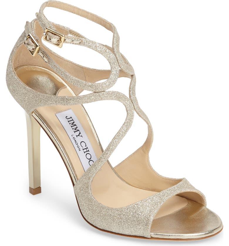 JIMMY CHOO Lang Glitter Sandal, Main, color, PLATINUM