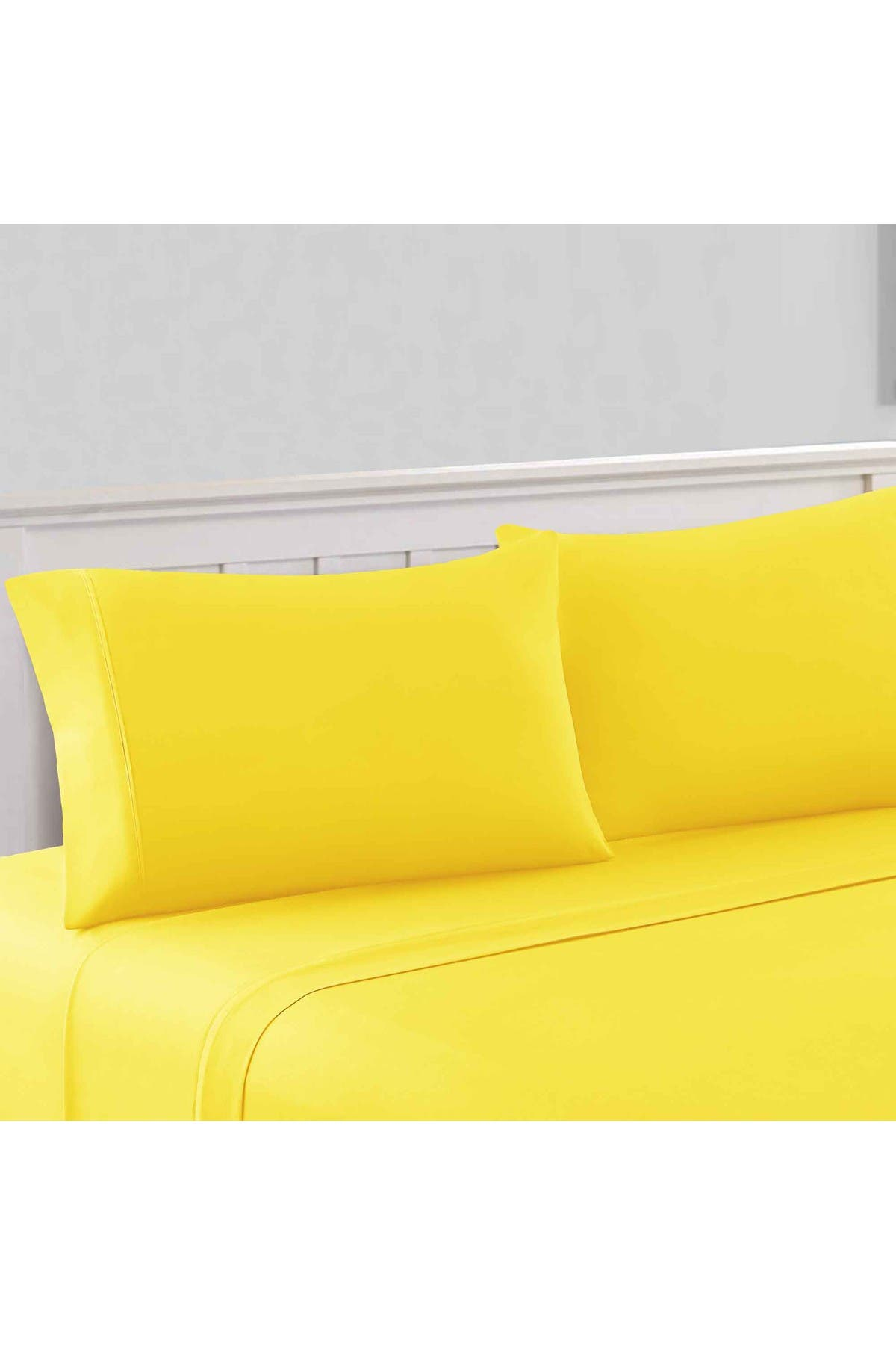 Image of Modern Threads 1800 Series 100 Solid Microfiber 4-Piece Sheet Set Yellow Queen