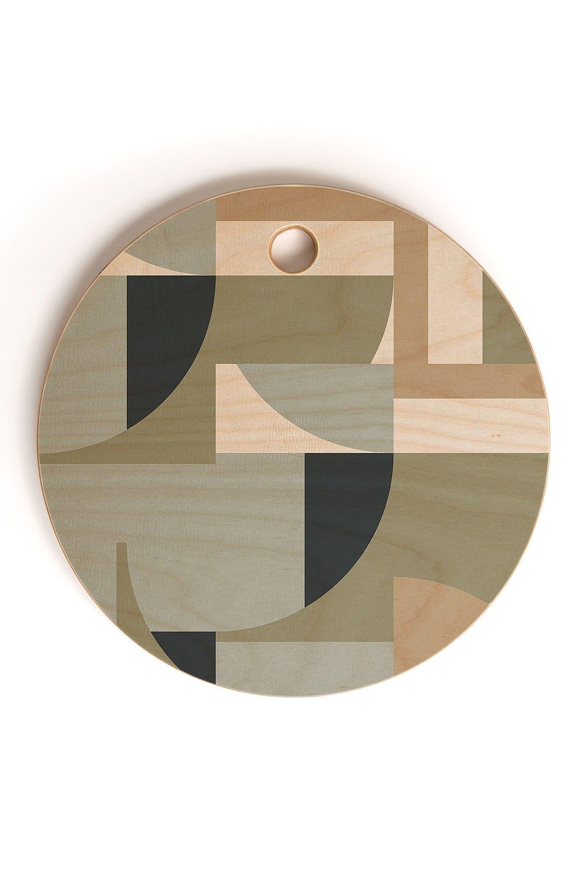 Image of Deny Designs Ninola Design Geometric Surf Sand Round Cutting Board