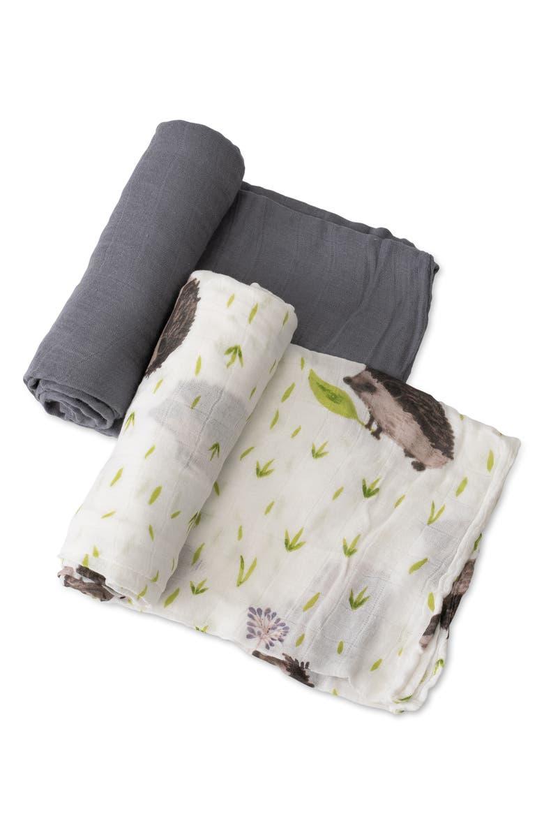 LITTLE UNICORN 2-Pack Muslin Swaddle Blanket, Main, color, HEDGEHOG