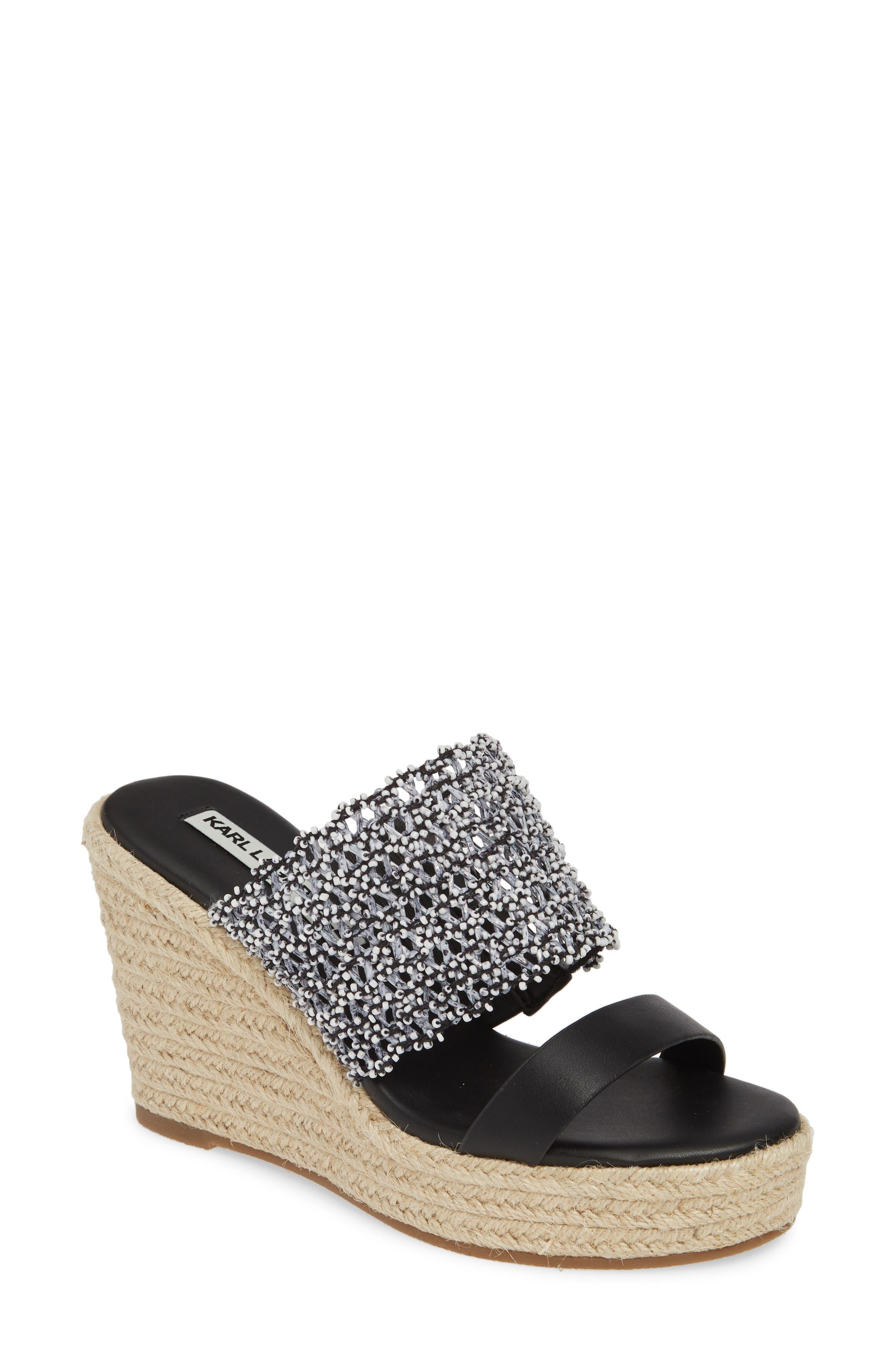 Karl Lagerfeld Paris Celie Espadrille Wedge Slide Sandal, Black