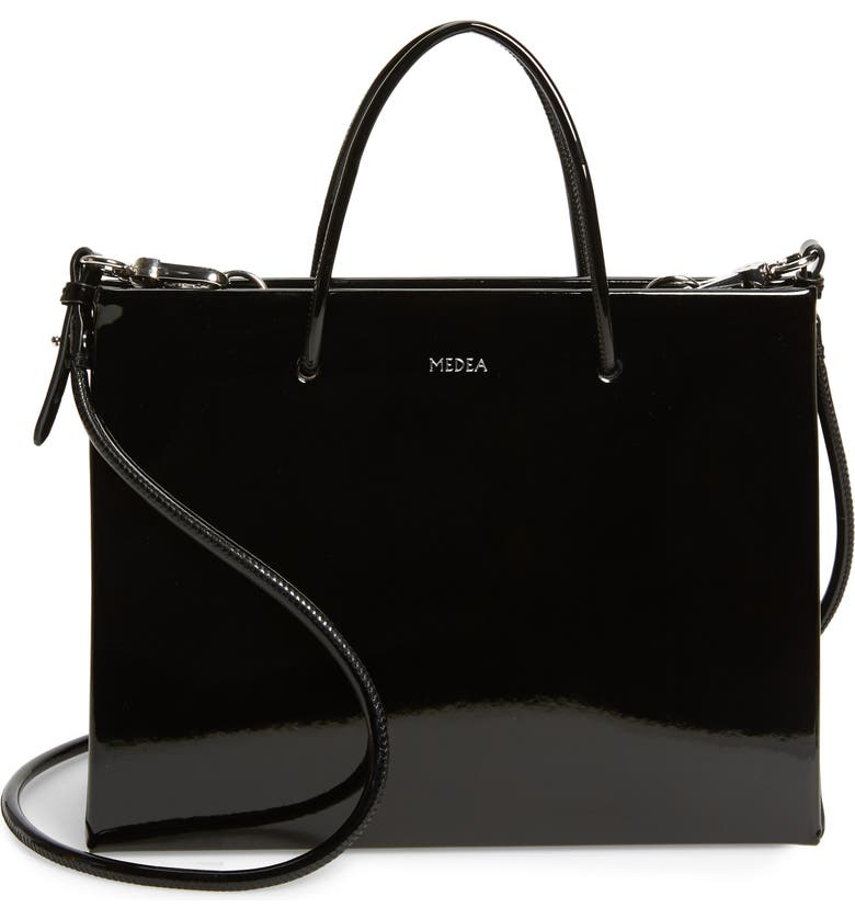 MEDEA Hanna Vinyl Bag, Main, color, BLACK