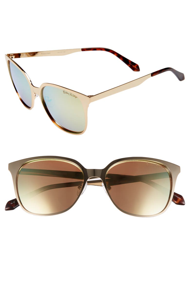 LILLY PULITZER<SUP>®</SUP> Landon 54mm Polarized Sunglasses, Main, color, GOLD/ GOLD